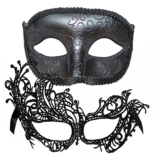 IDOXE One Pair Couple's Gorgeous Venetian Masquerade Masks Swan Set Party Costumes Accessory