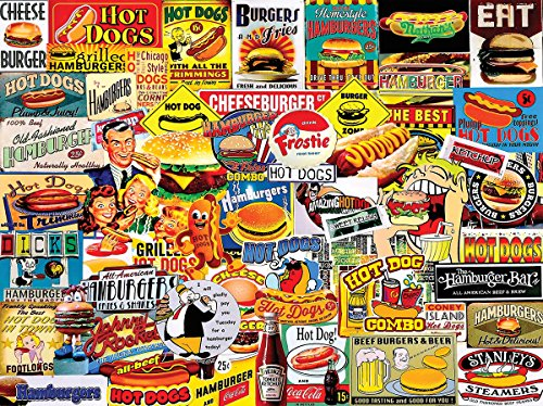 Burger Hot Dog (White Mountain Puzzles Burgers & Dogs - 1000 Piece Jigsaw Puzzle)