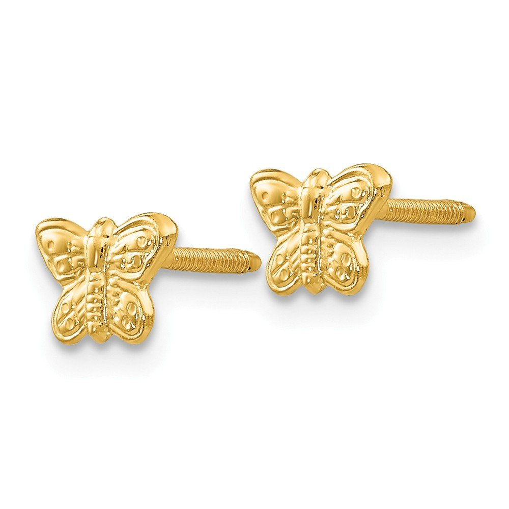 14k Yellow Gold Madi K Polished Butterfly Screwback Earrings