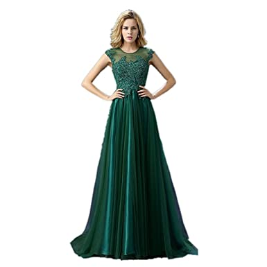 A Line Sexy Sheer Neck Lace Prom Dresses Dark Green Long Formal Evening Gowns (2