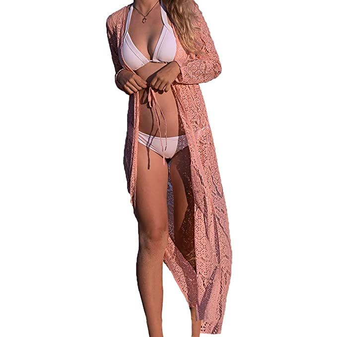 MuRstido Largo Bikini Cárdigan Mujer, Trajes de Baño Cover Up Pareo Lace Vestido Playa Sexy Verano
