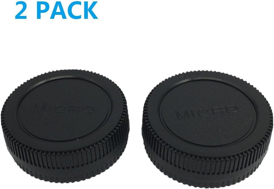 LXH (2 pack) Front Body Cap & Rear Lens Cap for Micro 4/3 DSLR Cameras & Micro 4/3 Mount Lenses (For Micro Four Third Lens, MFT) Fits Olympus E-PL5, E-PL6, EPL-7, E-PL8 E-P1/2/3 E-PL1/2/3 Panasonic