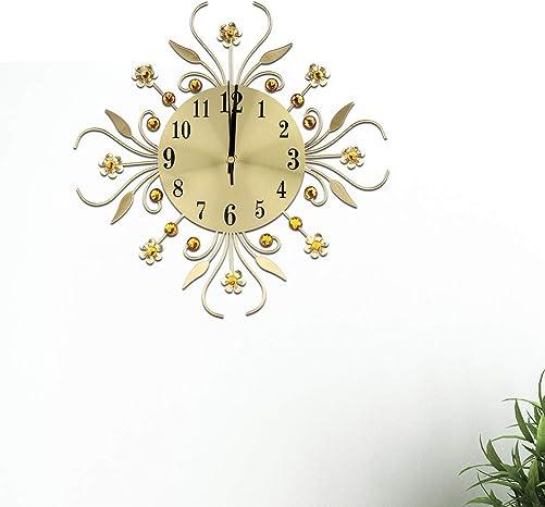 Modern Wall Clock Silent Creative Iron European Style Flower-Shaped Wall Mount Clock 3D Crystal Diamond Hanging Wall Clock