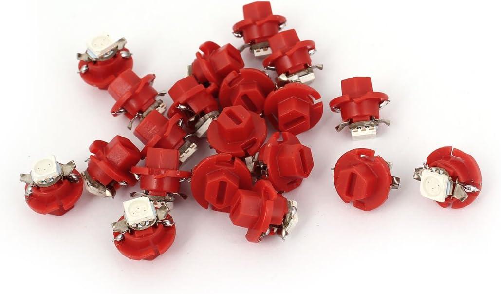 sourcingmap B8.4-5050 SMD LEDs Rojo Indicador de Coches Bombilla de Luz del Cuadro de Instrumentos 20 Pcs