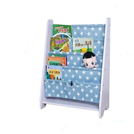 LANKUO Kids Book Rack Storage Bookshelf Toy Sling Light Blue White