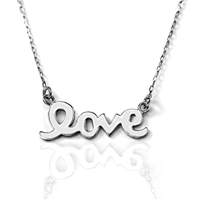 Amazon 14k gold love necklace white gold 16 inches pendant 14k gold love necklace white gold 16 inches aloadofball Images