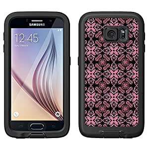 Skin Decal for LifeProof FRE Samsung Galaxy S6 Case - Victorian Astonishing Rose Petal on Black