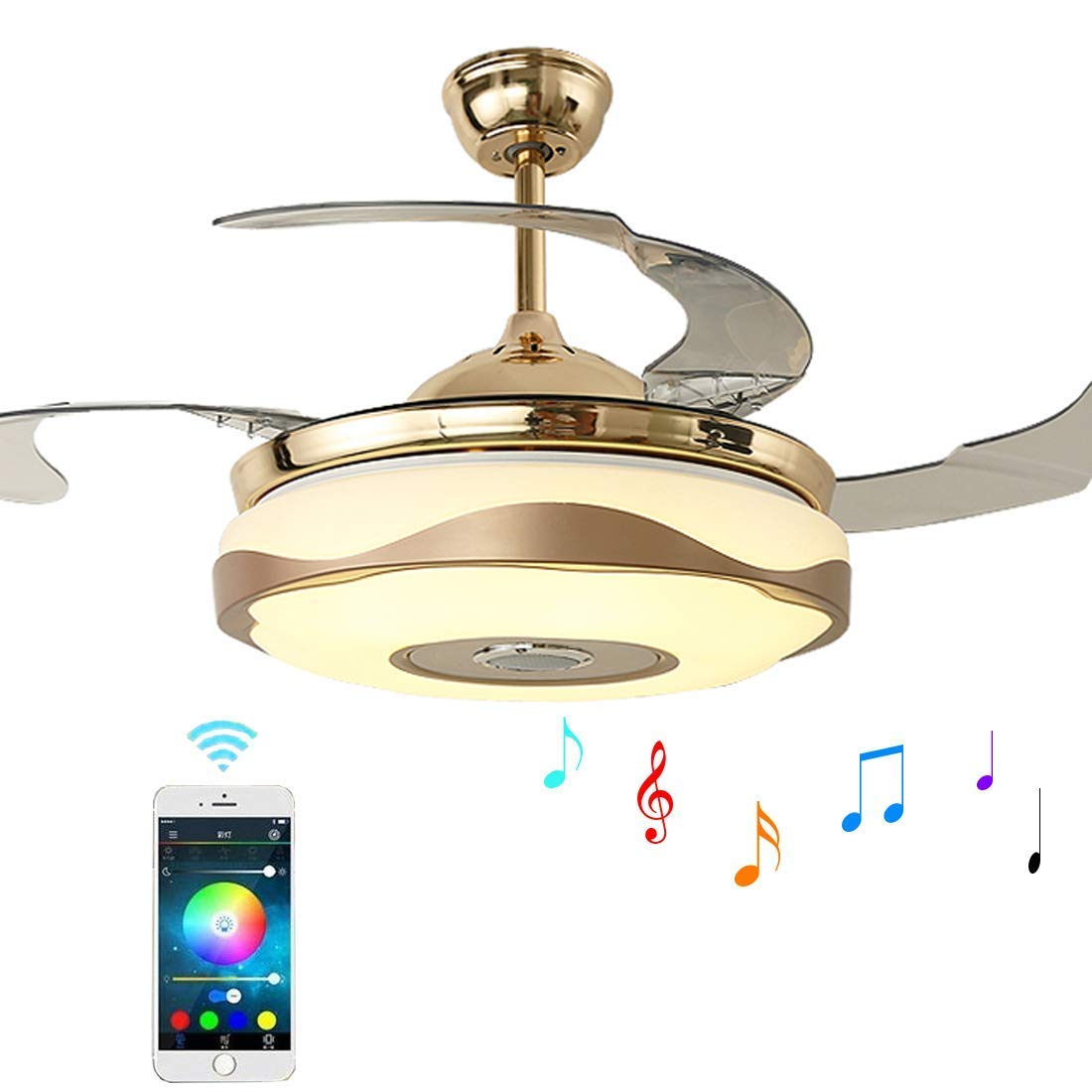 42 inch Ceiling Fan Chandelier Lights with Bluetooth Speaker and Remote Control,3-Color Dimming Retractable Invisible Ceiling Fans with Lights