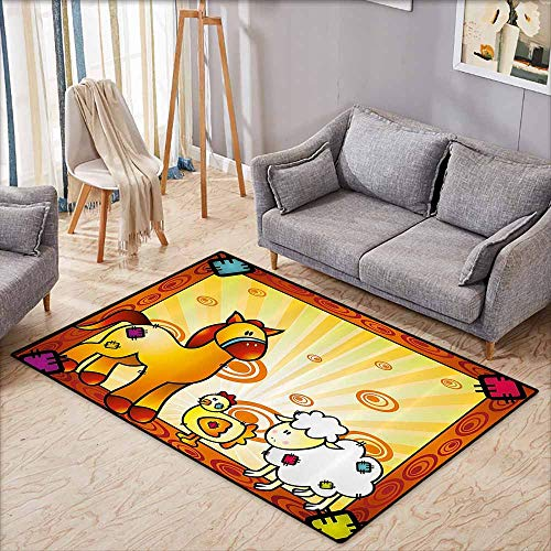 - Classroom Rug,Kids,Animal Friend Chicken Sheep and Horse with Patch Motif Zoo Joyful Cartoon Print,Super Absorbs Mud,4'11