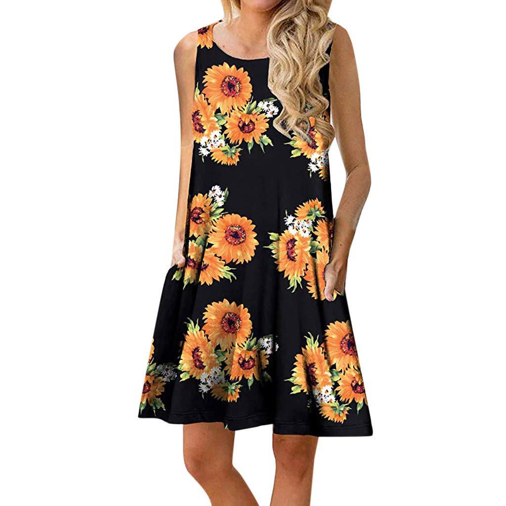 Zaidern Women Dress Women's O Neck Casual Print Sleeveless Above Knee Dress Loose Party Mini Dresses Sundress Yellow