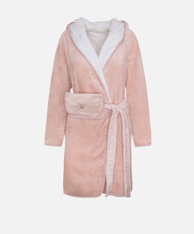 RHRSY Se/ñoras Lana de Coral Robe Luxury Terry Toweling Algod/ón Bata Albornoz Bata de ba/ño Suave Absorbente y C/ómodo Tama/ño Desde XS hasta L Color : Pink, Size : XS