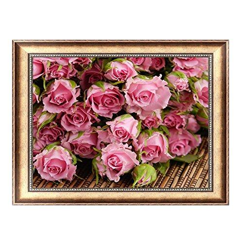 kofan 5Dダイヤモンド絵画キット DIY手作り ラインストーン インテリア装飾 家庭飾り ホーム レストラン 装飾 プレゼント 初心者向け 暇つぶし ピンクのバラ 40x30 cm