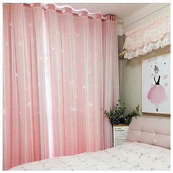 Amazon.com: JZG Pink Double Curtain Princess Nordic Style ...