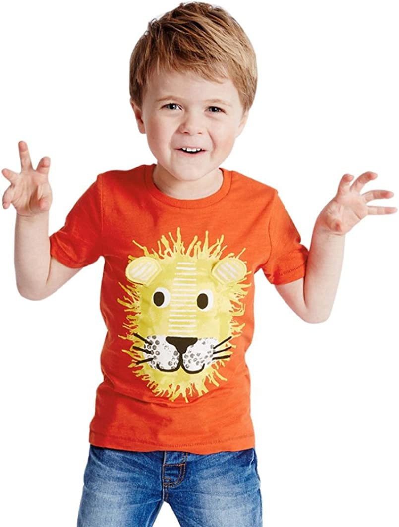 Transer Cartoon Printing Short Sleeve T-Shirt Tee Shirt Tops for Infant Toddler Kids Baby Boys Girls Age 1-6