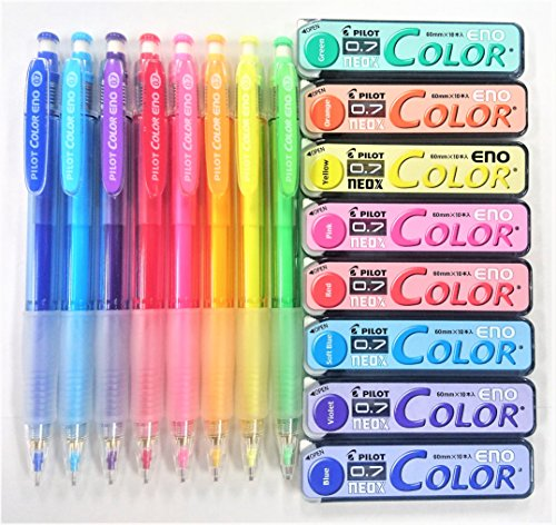 Pilot Color Eno 0.7mm Automatic Mechanical Pencil 8 Color & 0.7mm Lead Refill 8-Box Full Set with Original Vinyl Pen Case (Pencil Lead Automatic)