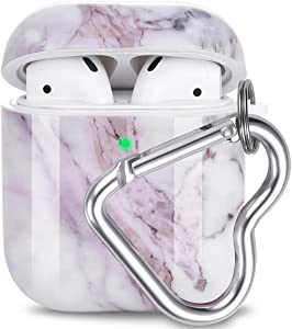 AirPod Case, Olytop Cute Marble AirPods Accessories Protective Design Case Cover Portable with Keychain Compatible with Apple AirPods Charging Case 2&1 for Girls Women Men (Lavender Purple)