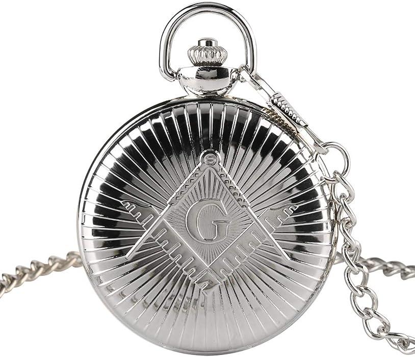 Reloj de Bolsillo para Hombre, Estilo Antiguo, Grande, con diseño de masones y Cuarzo, Regalo para Hombres