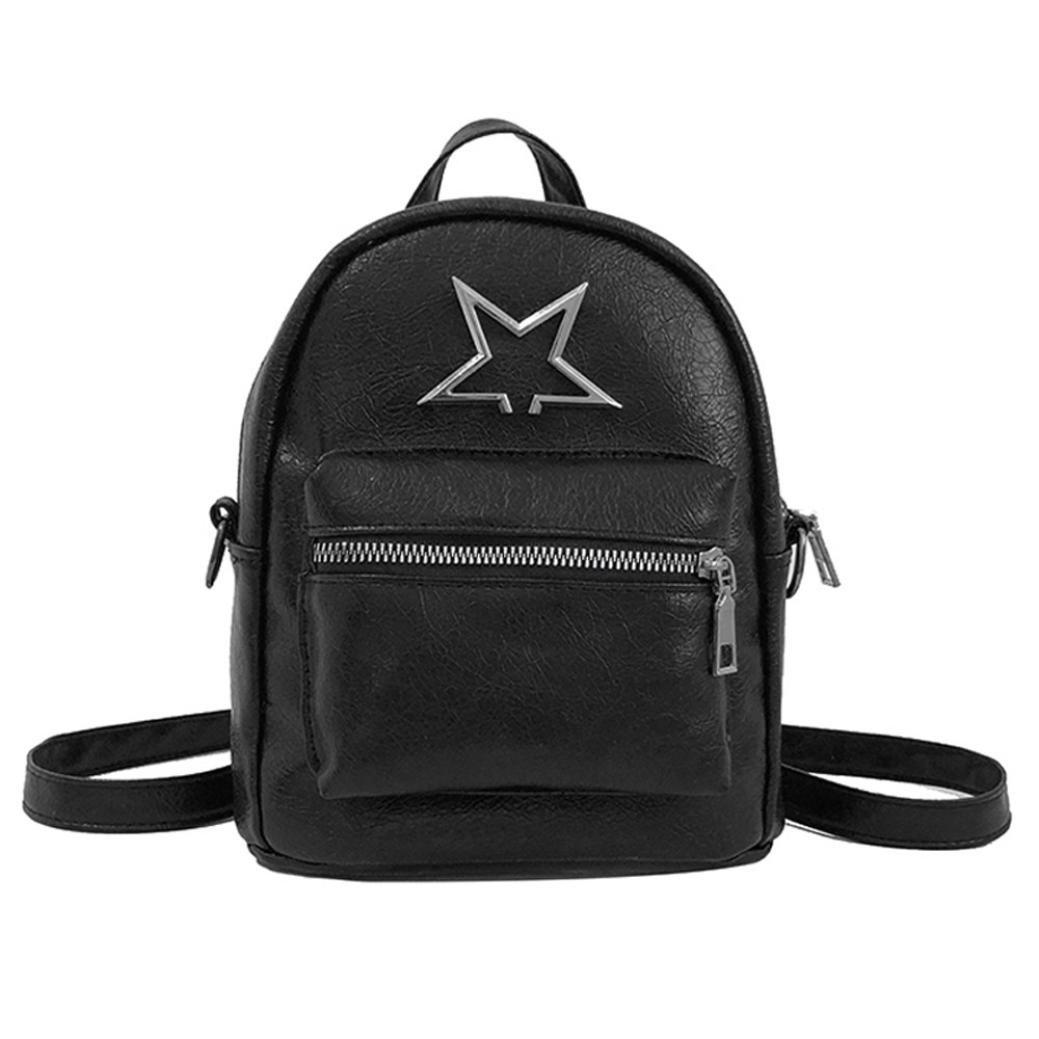 Anxinke Women Girls PU Leather Small Backpacks Satchel Bag (Black)