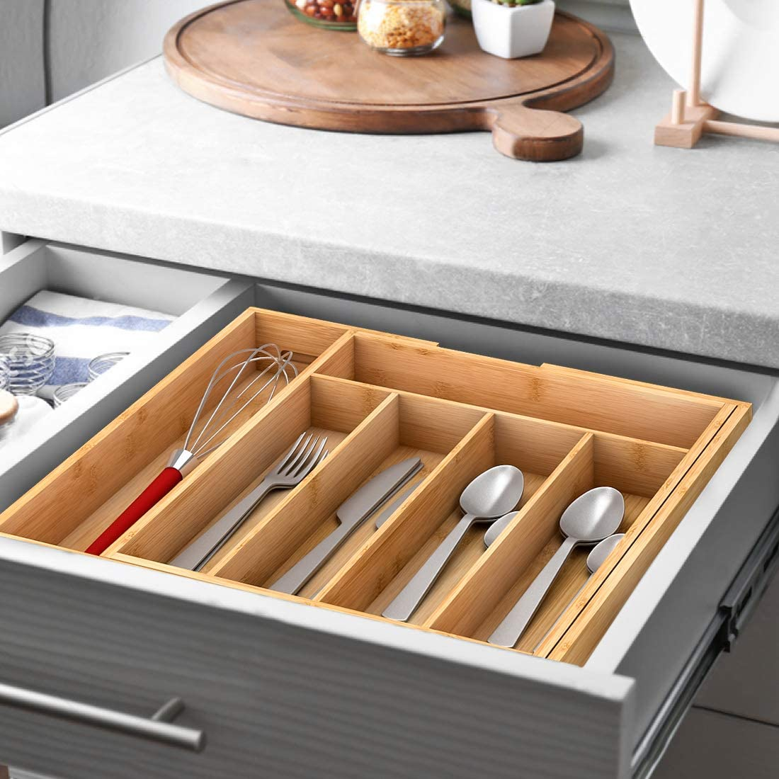 FWKTG Bamb/ú Cubiertos Organizador Cajon de Cubertero Bandeja Extensible Ordenar Utensilios Bandeja para Cubiertos y Multiusos para Organizar Cajones de Cocina