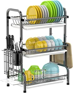 Dish Drying Rack, NBSail 3 Tier Dish Rack Stainless Steel Dish Drainer Utensil Holder, Cutting Board Holder with Removable Drain Board for Kitchen Countertop, Black
