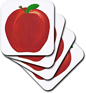 3dRose CST_12683_2 Red Apple Soft Coasters, (Set of 8)