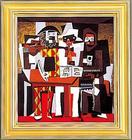 複製絵画 三人の音楽家 ピカソ作 50×45.5cm
