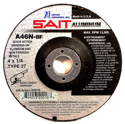 United Abrasives SAIT 20062 Type 27 4-1/2-Inch x 1/4-Inch x 7/8-Inch A46N Aluminum Depressed Center Grinding Wheels, 25-Pack by SAIT