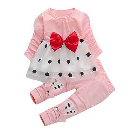 3cabb5a15e3b98 Bambino Completo Pantaloni E Top Bambino Abbigliamento Bambini Abiti  Cerimonia Set Pantaloni Cute Toddler Bambina Bowknot Manica Lunga Dot  Princess Dress + ...