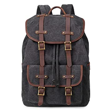 Men Business Travel Laptop Backpack 15 inch Canvas Laptop Backpack Unisex Vintage  Casual School College Business 4a83310c4c86e