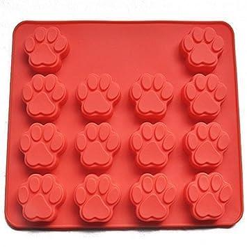 14 Agujero patas de perro molde de silicona, silicona Mini Paw Pan, galletas molde