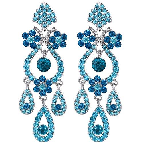 EVER FAITH Bridal Flower Vase Chandelier Pierced Dangle Earrings Austrian Crystal Blue Silver-Tone ()