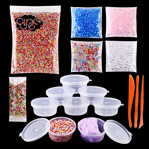 Assorted Mini Fruit Slices (DECORA Slime Making Kits Supplies,Fishbowl Beads,Foam Balls,Storage Boxes, Lids Plus Making Tools and Fruit Flower Slices for DIY Art Craft , Homemade Slime, Wedding and Party Decoration)