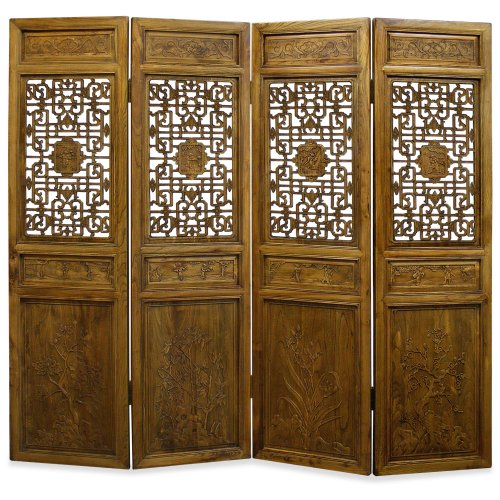 - China Furniture Online Elmwood Floor Screen, 92 Inches Hand Carved Window Panel Motif with Four Season Flower Design Room Divider Natural Finish