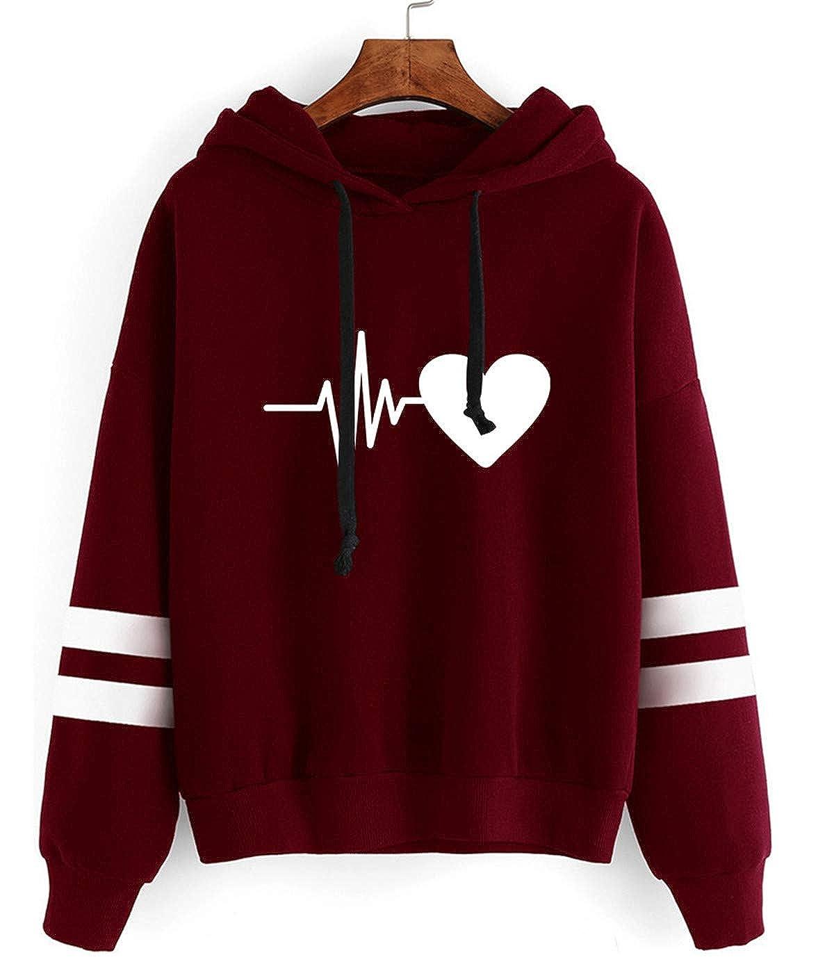 SIMYJOY Sudadera con Capucha Unisex Heartbeat Sudadera con Estampado de electrocardiograma Jersey de Manga Larga a Rayas Moda callejera para Hombres Mujeres