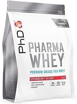 PhD PHARMA WHEY HT+ Suplemento Dietético en Polvo para Batidos Rico en Proteínas para Mantenimiento y Desarrollo de Músculos Definidos, Vegetariano y ...