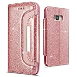 Lafunda for Samsung Galaxy S7 edge Case Luxury Glitter Bling Sparkle Wallet Case Magnetic Shiny PU Leather Slim Stand Flip Cover Protective Handbag Style Shell with Kickstand Card Slots, Rose Gold