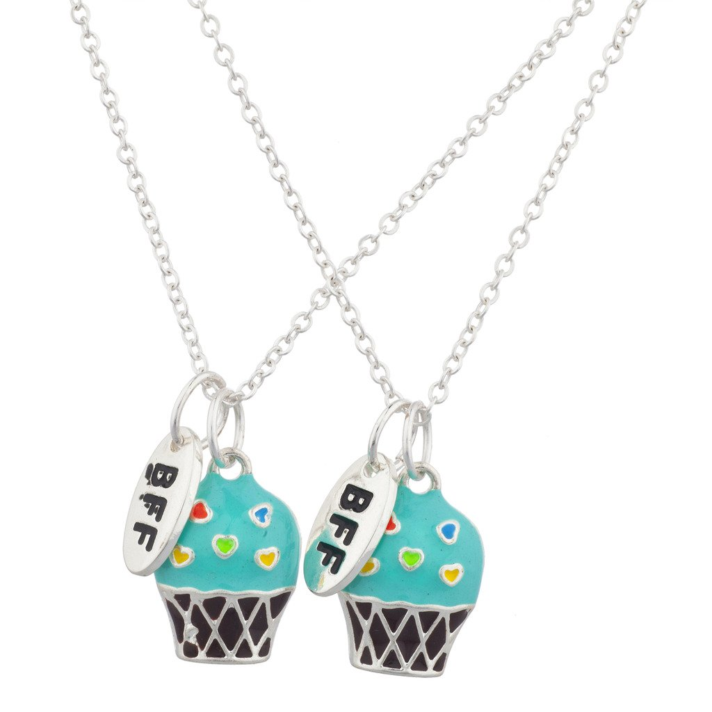 Jewelry Three Pendants Best Friend Necklace Rhinestone Ice Cream Silver Tone