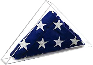 product image for flag connections Deluxe Clear Acrylic Table Top American/Burial/Funeral/Veteran Flag Memorabilia Display Case