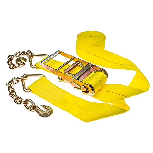 4 x 40 Heavy Duty 15,000 lb. Ratchet Strap with Chain Extension Grab Hook Ends