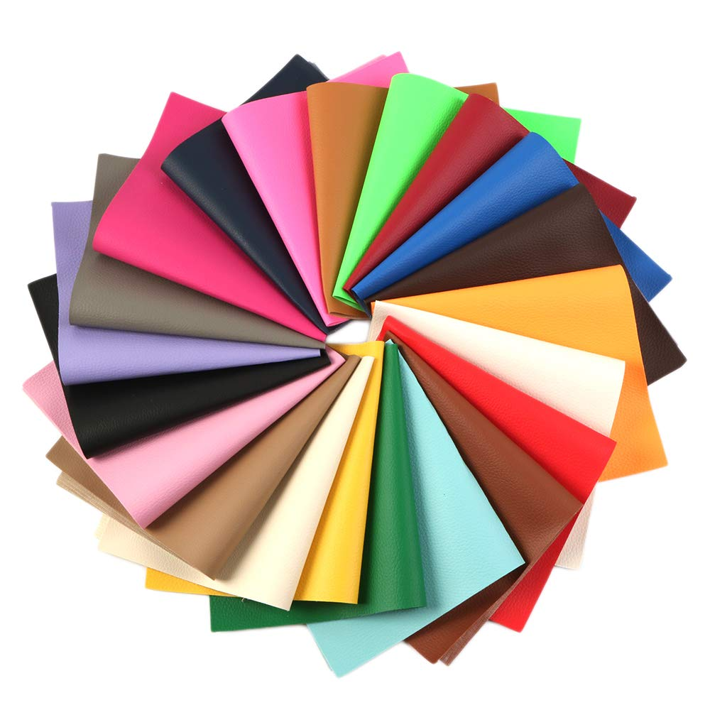 David accessories Litchi Pattern Printed Faux Leather Sheets Solid Color Synthetic Leather 21 Pcs 8 x 13''(20 x 34cm) Assorted Colors for DIY Earrings Hair Bows Making (Big Litchi Pattern Printed) by David accessories (Image #1)