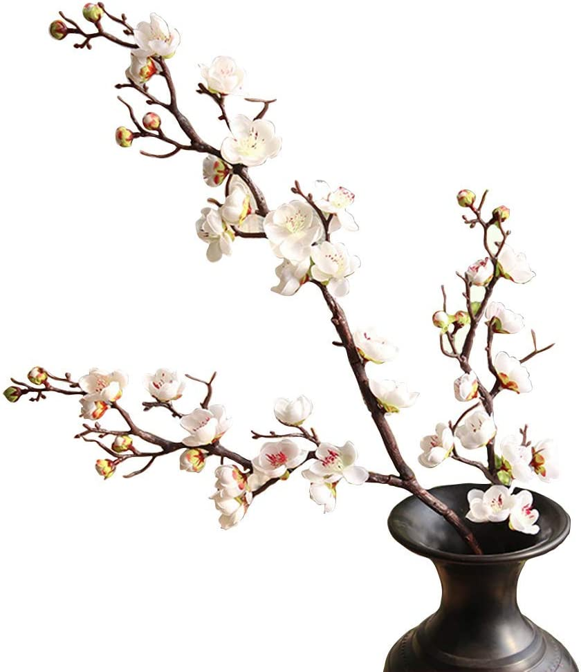 """FightingFly 4Pcs Artificial Cherry Blossom Flowers, 37"""" Plum Blossom Peach Branches Silk Tall Fake Flower Arrangements for Home Wedding Centerpieces Decoration, White"""