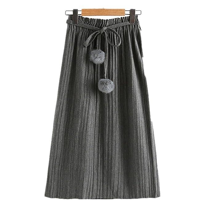 Las mujeres que adelgazan falda de estilo japonés vestido plisado largo faldas ajustables del cordón (