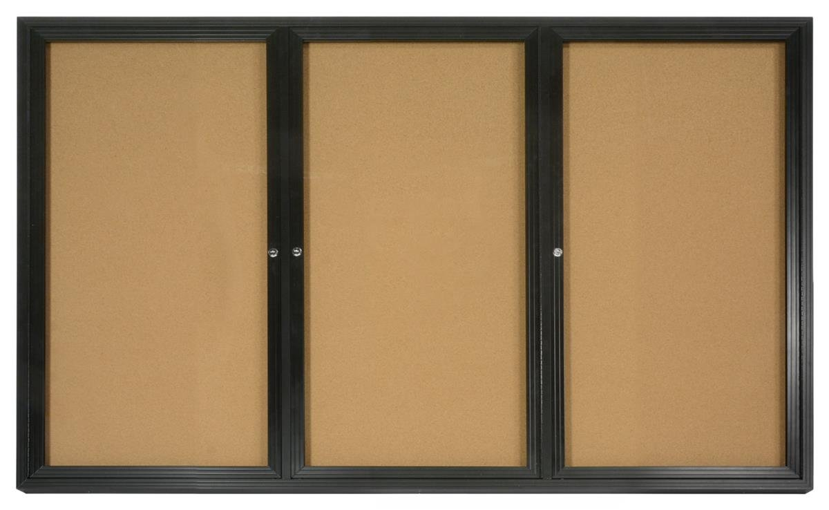 3-Door Enclosed Cork Board, 6' x 4', with Wall-mount Bracket, 72 x 48 Bulletin Board for Indoor Use, with Black Aluminum Frame by Displays2go