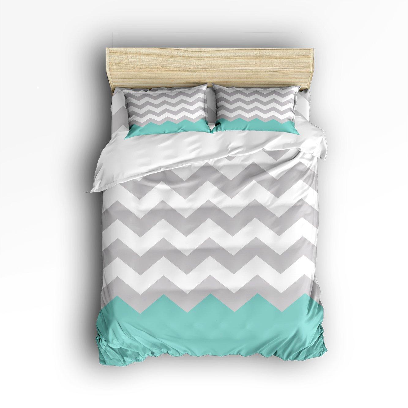 4Pieces Home Comforter Bedding Sets Duvet Cover Sets Bedspread for Adult Kids,Flat Sheet,Shams Set,Blue Gray White Chevron Zigzag Pattern Full Size