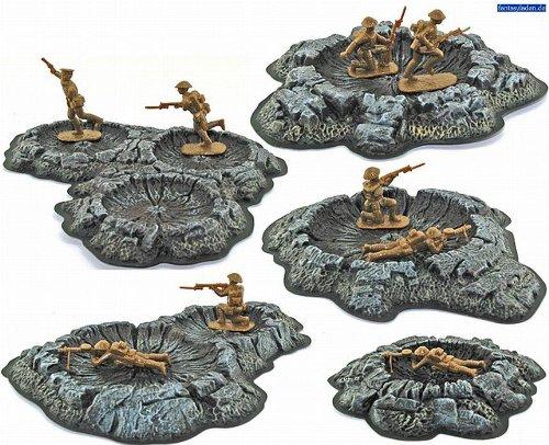 Crater Set - Unainted (5 Craters, 28mm Terrain) by Pegasus Hobbies