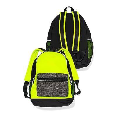 Victoria's Secret Pink Padded Laptop Sleeve Backpack Book Bag Tote Neon Yellow Black Grey Marl