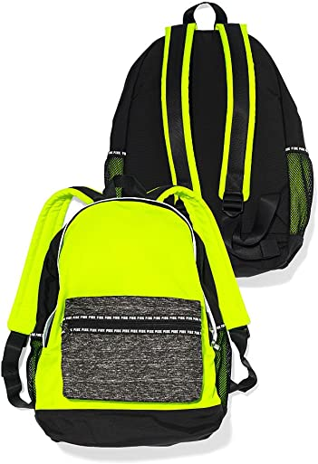 Victoria s Secret Pink Padded Laptop Sleeve Backpack Book Bag Tote Neon Yellow Black Grey Marl