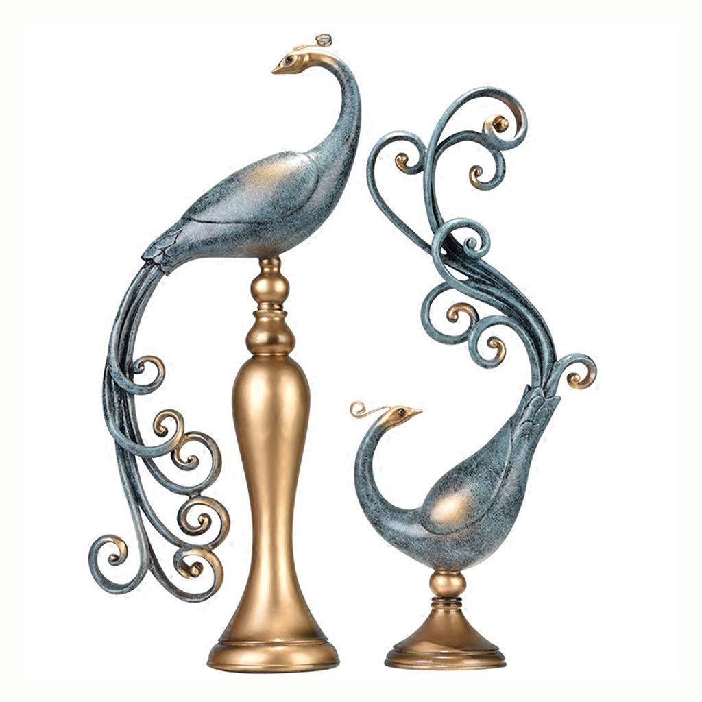 装飾工芸品 クリエイティブな孔雀の飾り 寝室の飾り オフィスの飾り 結婚祝い 手作り、ギフト用の箱の包装 (Color : Blue, Size : 21*10*50cm) 21*10*50cm Blue B07SGCXQKS