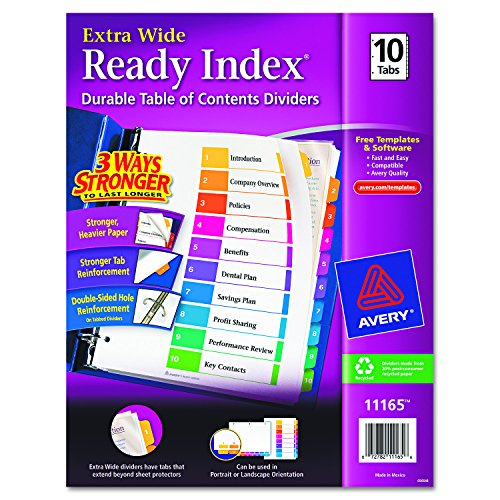 Top Avery Extrawide Ready Index Dividers, Laser/Ink Jet, 9.5 x 11 Inches, Assorted, 10 Tabs, 1 Set (11165) supplier