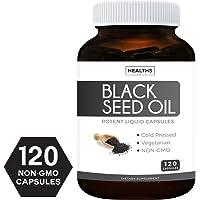 Best Black Seed Oil 120 Softgel Capsules (Non-GMO & Vegetarian) Premium Cold-Pressed Nigella Sativa Producing Pure Black Cumin Seed Oil with Vitamin E, Made in The USA - 500mg Each, 1000mg Per Serving
